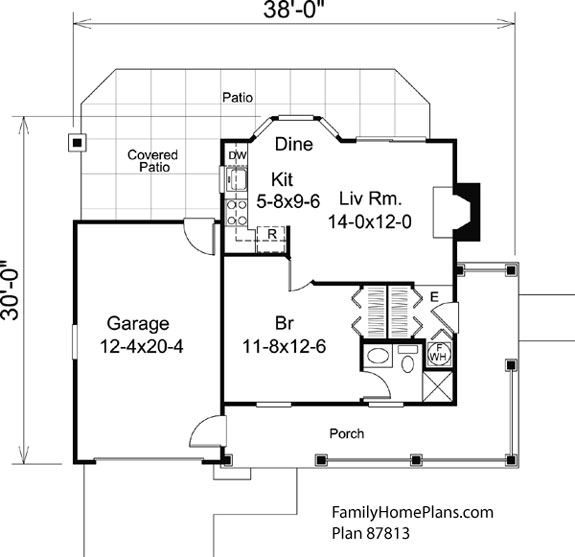 Tiny house floor plan 87813 by Family Home Plans