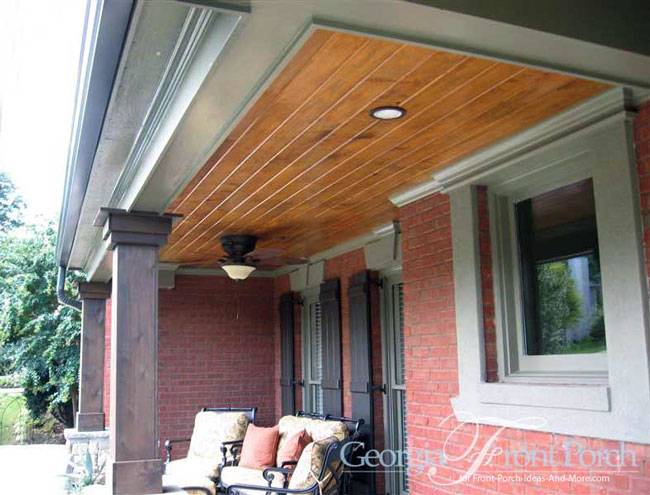 front porch with tongue and groove ceiling and recessed lights