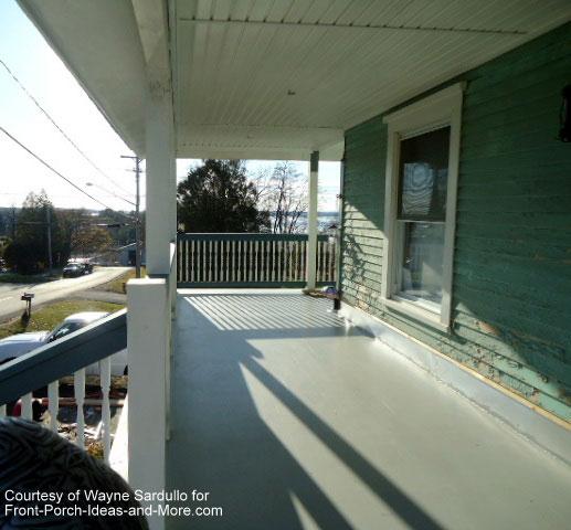 Close look at upper porch