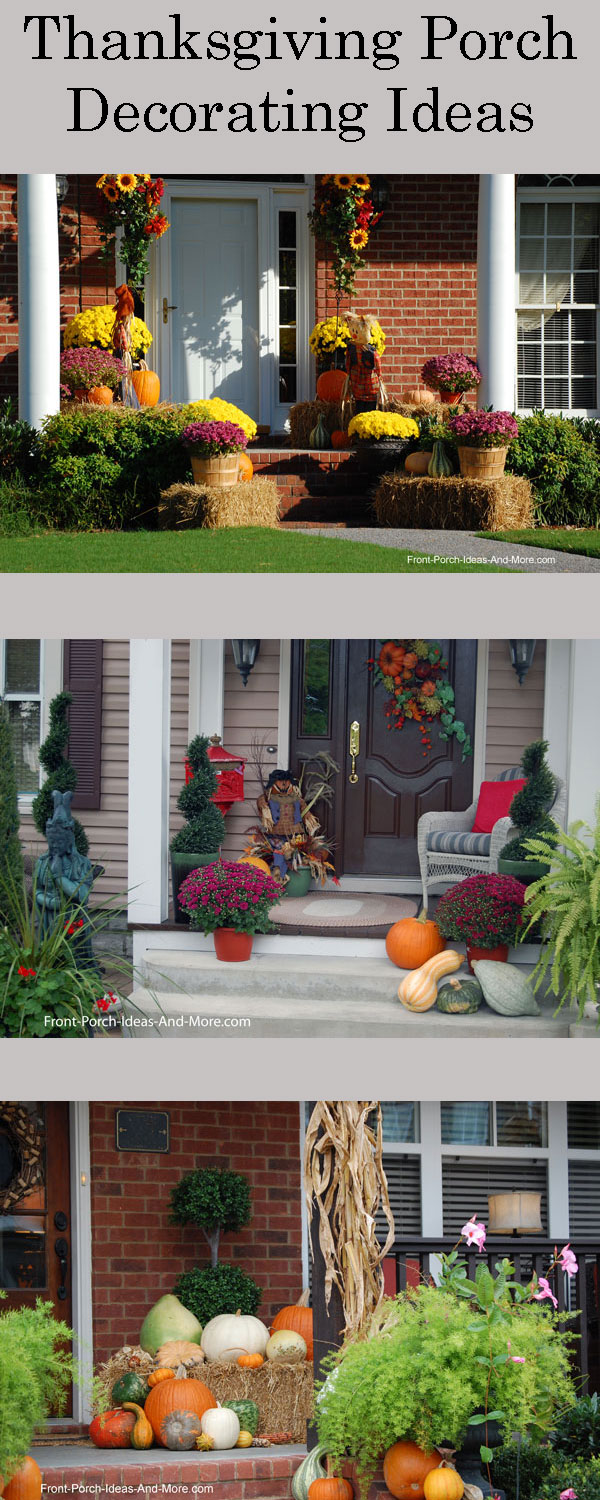 collage of three front porched decorated for thanksgiving