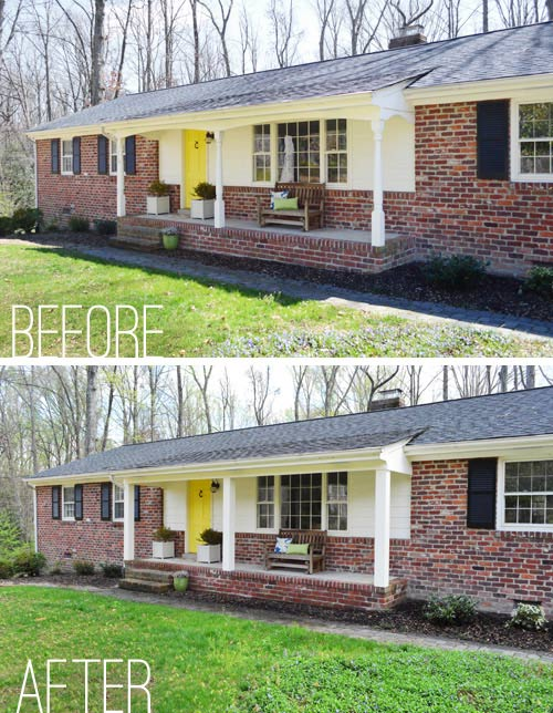 before and after of John and Sherry's porch posts