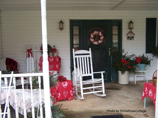 Valentine Decorated Porch complete with rockers and colorful front door wreath