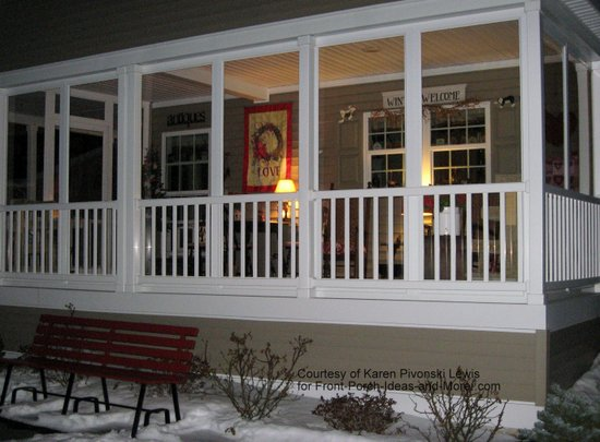 enclosed front porch decorated for valentines