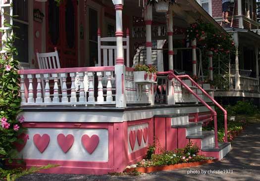 valentine hearts on porch skirting