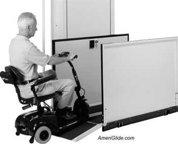 man entering in wheelchair vertical wheel chair lift
