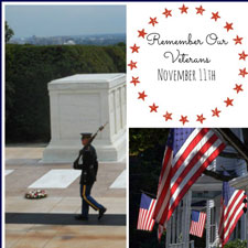 collage of american flags and monuments for veteran's day