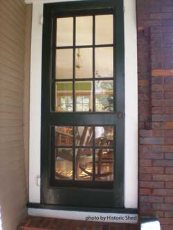 Brown screen door with cross grids