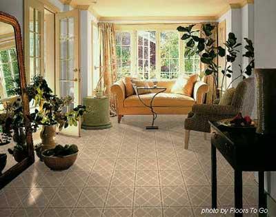 vinyl flooring in furnished sunroom