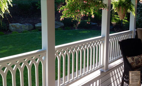 Vinyl Porch Railings In Cathedral Pattern On Front Porch   Vinyl Porch  Railing Ideas For Porches