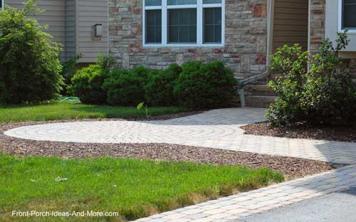 Walkway with stone border