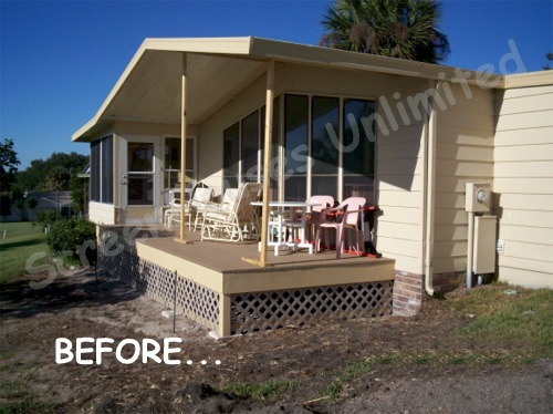 Example of a back deck that was turned into a screened porch using a walls-only screen porch kit