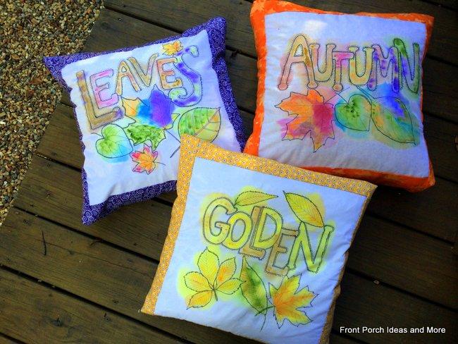 watercolor autumn porch pillows