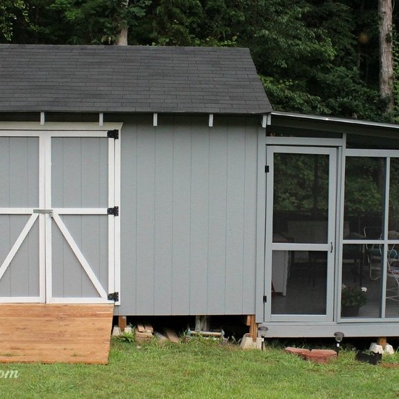 Screened porch attached to a storage shed - great if you can't have one on your home. Source: We Call It Junkin