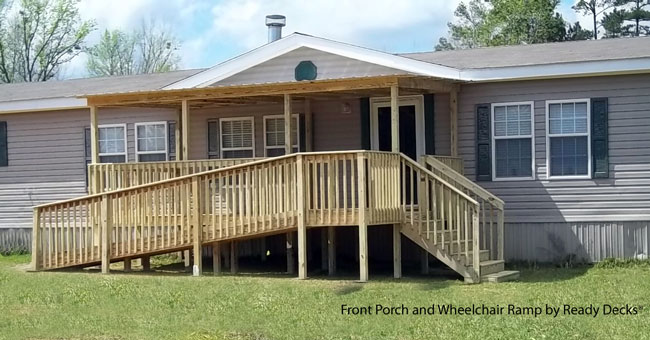 front porch with wheelchair ramp