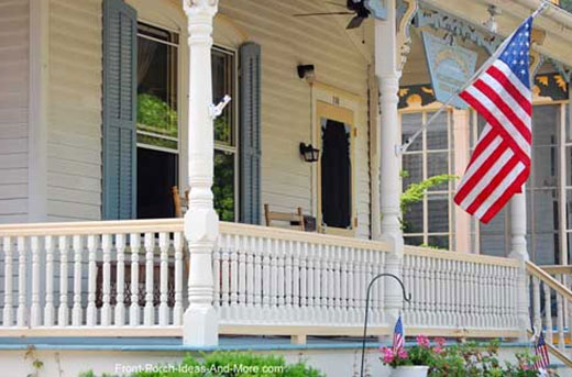 white porch balustrade on front of porch