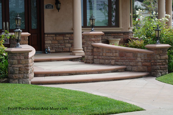 classy wide front porch steps