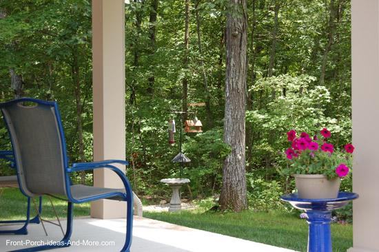 wild bird feeding station viewed from front porch