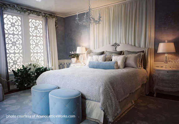 white vinyl lattice window covering in bedroom