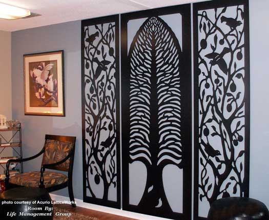 lattice panels used as interior wall decorations