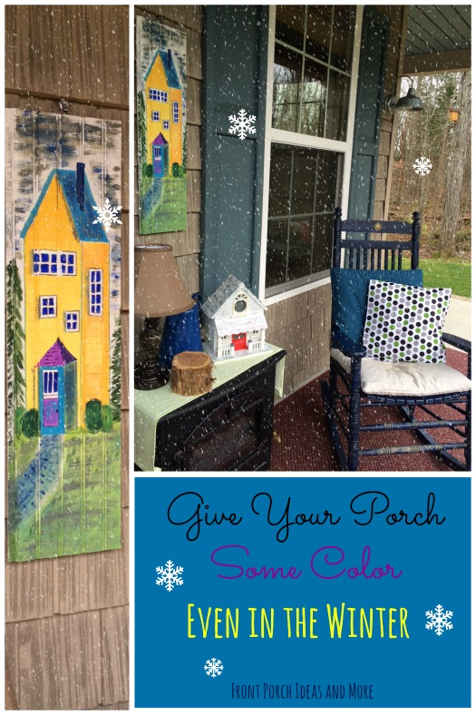A pop of color brings your porch alive in the winter!