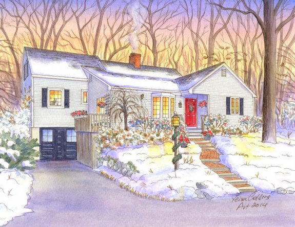 house portrait painting - four seasons - winter - watercolor by Leisa Collins