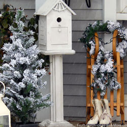 porch decorated in winter with sled, skates, and birdhouse