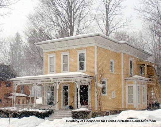 Beautiful old yellow home in the winter