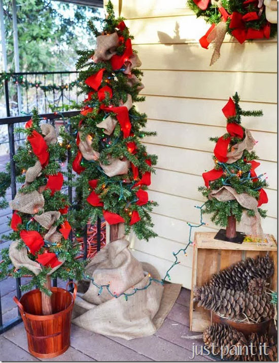 Just Paint It - woodland tree trio with red ribbons