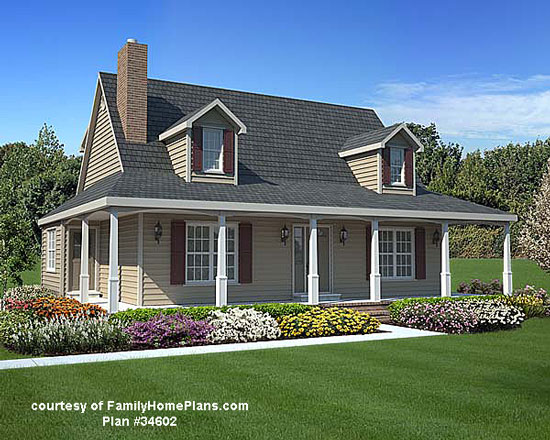 Wrap around porch from Family Home Plans #34602