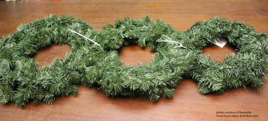 three faux wreaths for snowman christmas wreath
