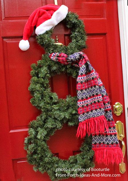 snowman wreath on front door