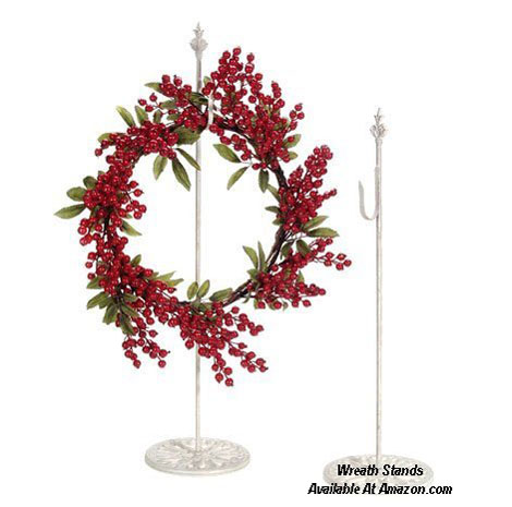 A pair of Standing Metal Wreath Hangers  from Amazon.com