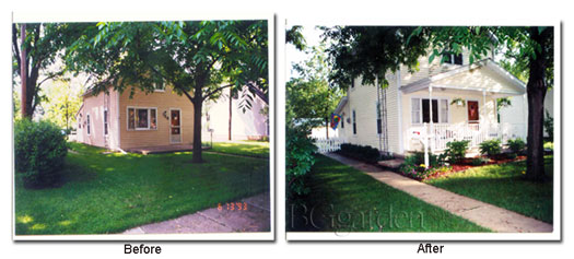 Photo of Brenda's first house in town - before and after