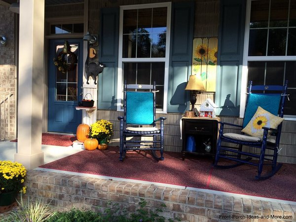 On our blue porch, the yellow really pops out - it is harmonious with blue