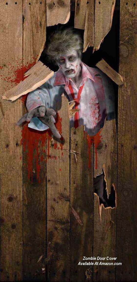 zombie door cover for Halloween from amazon.com