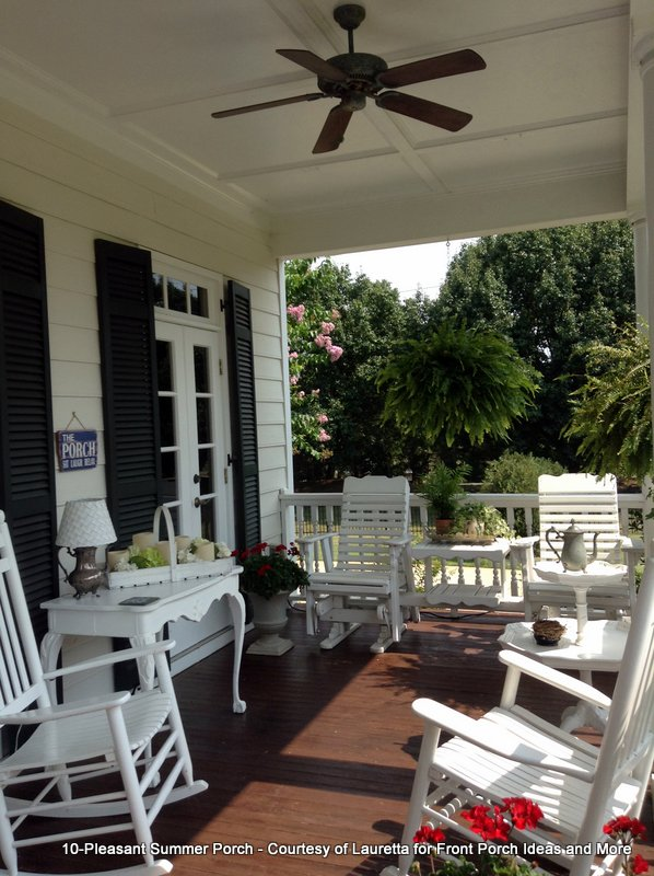 wonderful summer porch with white rocking chairs