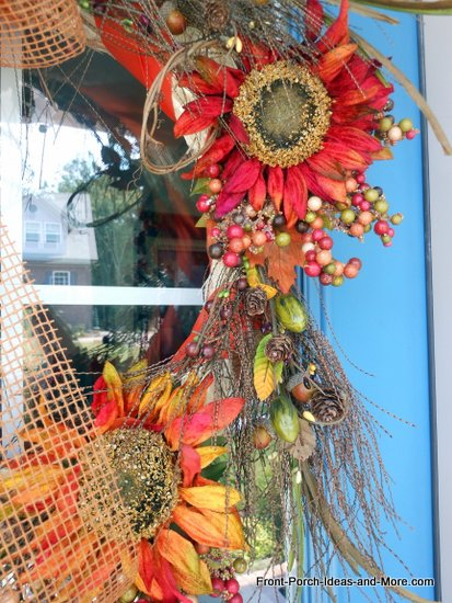 close-up view of my autumn splendor wreath