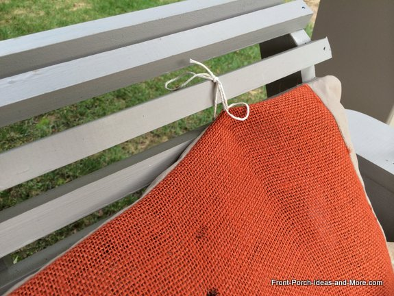 autumn swing cushion - tie the cushion to the slats of your porch swing