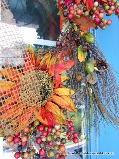 close-up view of out autumn  wreath