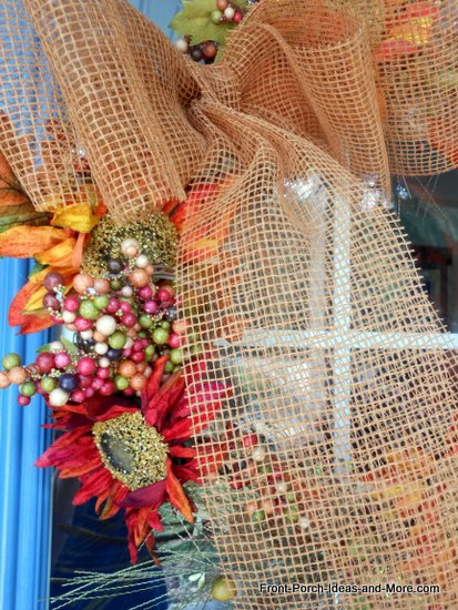 another close-up view of the autumn wreath