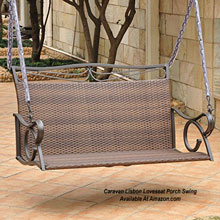 love seat metal porch swing with resin seat at Amazon