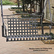 metal porch swing with straight line details at Amazon