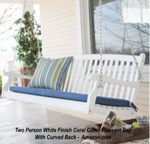 White Finish Pleasant Bay All Weather Curved Back Porch Swing at Amazon