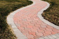 Meandering paver walkway