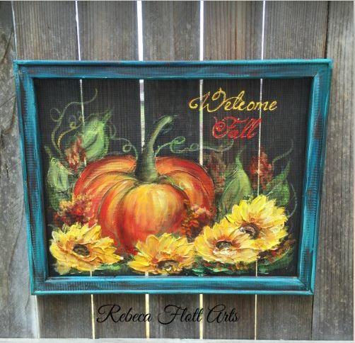 Autumn screen art - handpainted!