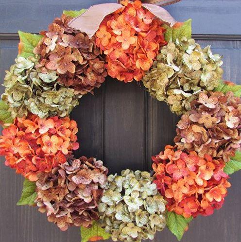 vibrant hydrangea wreath in orange, brown and green