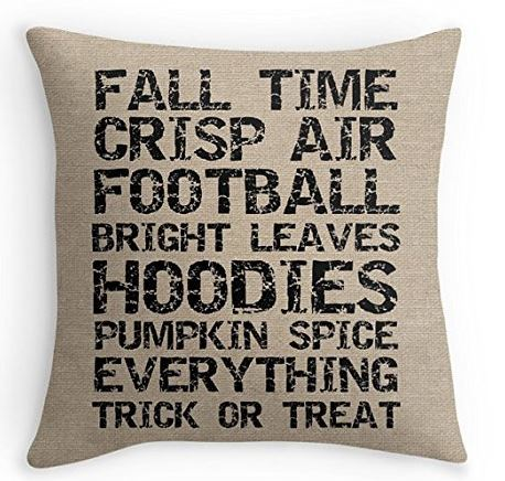 Burlap look pillow cover with words - handmade!