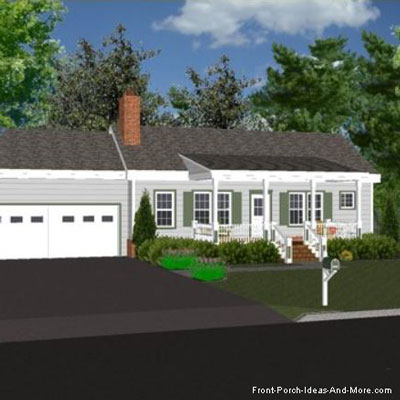 depiction of ranch home with a selected porch roof design