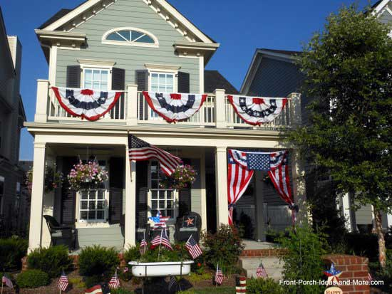 front porch festooned with red, white, and blue