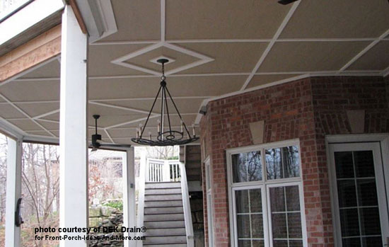 under deck ceiling with hanging chandeliers